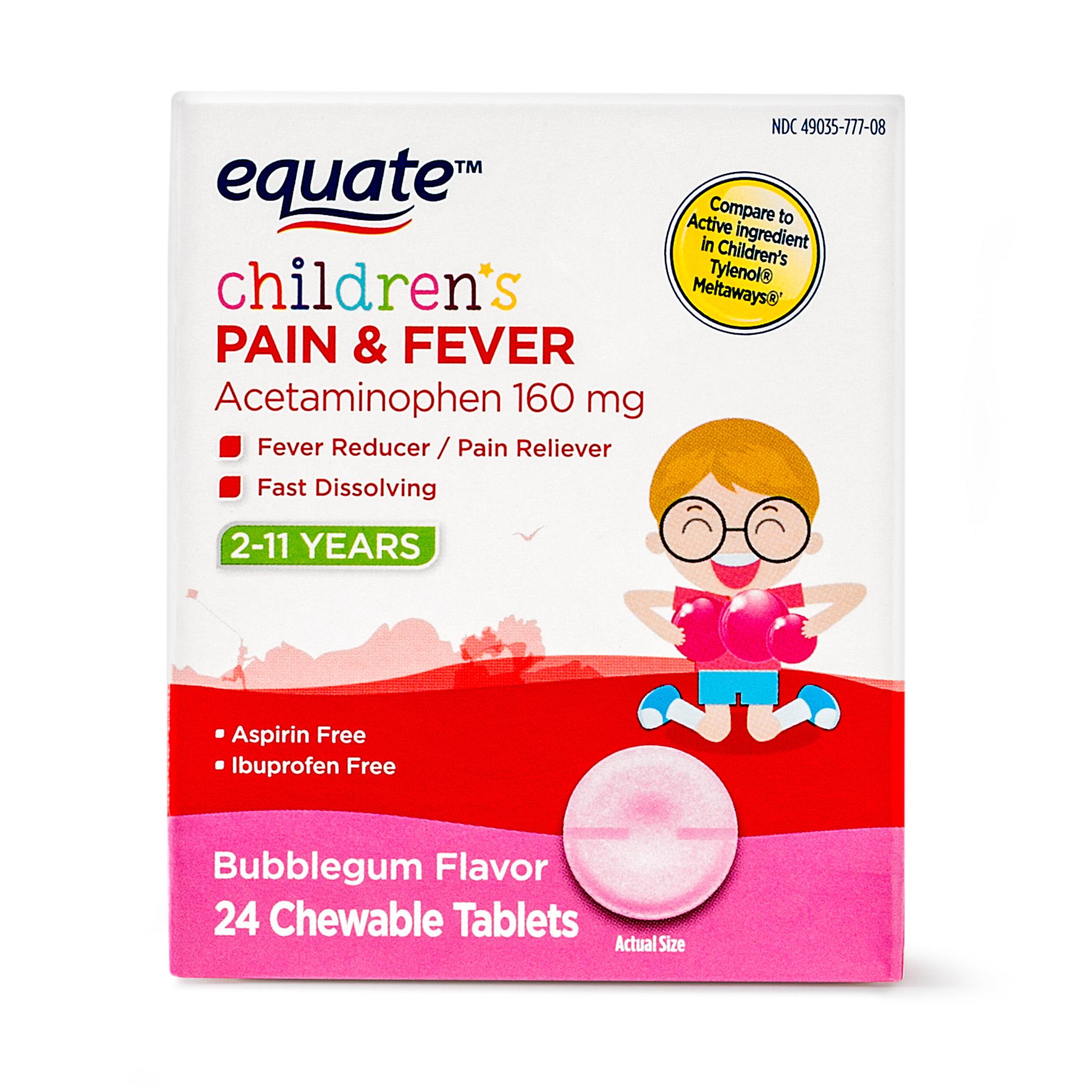 Equate Children's Acetaminophen Chewable Bubblegum Tablets, 160 mg, 24 Ct
