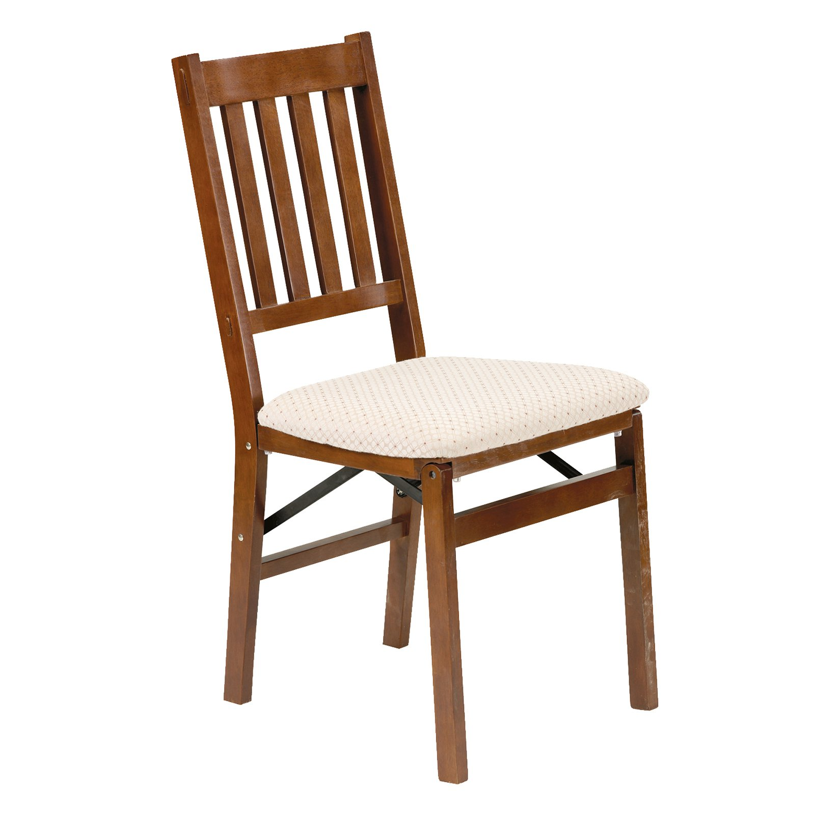 Arts and Craft Harwood folding chair with blush upholstery - Fruitwood