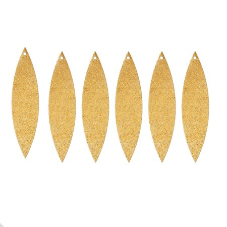 Brass Drop - 25 Brass Plated Alloy Metal Stamping Blanks Leaf Sparkle Drop 50x12mm