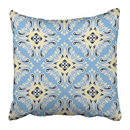 ECCOT Blue Snowflake Winter Pattern Baroque Ikat Paisley Scroll Abstract Classic Classical Pillowcase Pillow Cover 20x20 inch