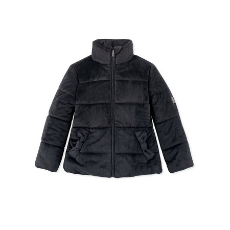 Girl's Velour Puffer Jacket](calvin klein jacket packable hooded quilted puffer)