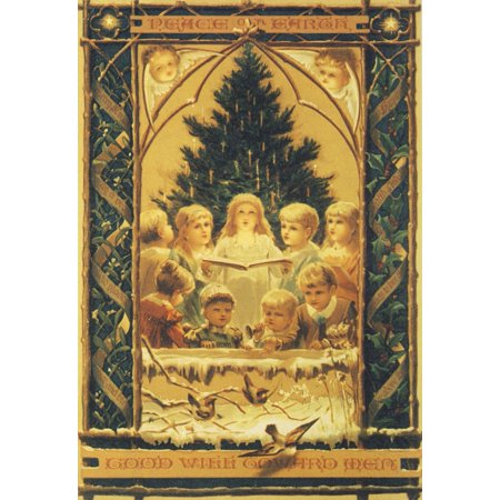 Goodwill Halloween Coupon (Christmas card Peace on Earth & Goodwill (unknown artist) Stretched Canvas -  (18 x)