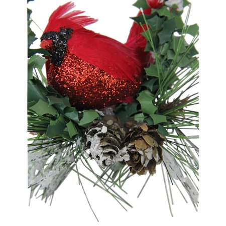 "5.25"" Red and Black Glittered Cardinal in a Holly Wreath Christmas Ornament - image 1 of 2"