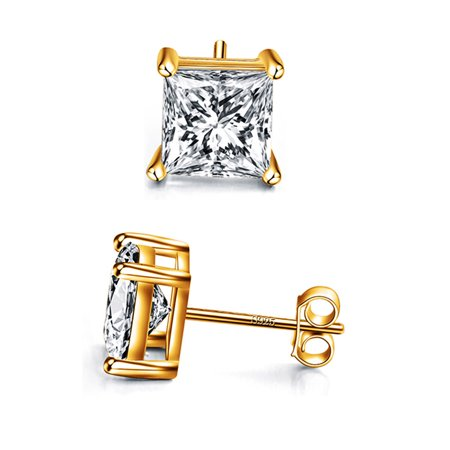14k Gold Plated 925 Sterling Silver 4 Prong Square Shape Cubic Zirconia Stud Earrings