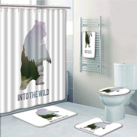 EREHome Wild Animals of Canada Survival in the Wild Hunting Camping Trip Outdoors 5 Piece Bathroom Set Shower Curtain Bath Towel Bath Rug Contour Mat and Toilet Lid Cover - image 2 de 2