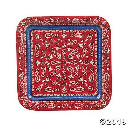 Red Bandana Square Paper Dinner Plates](Bandana Plates)