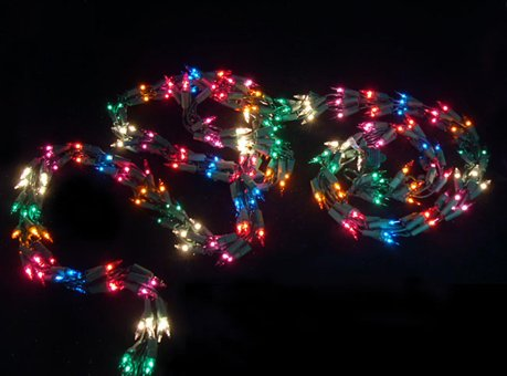 9 39 christmas light garland with 300 multi color mini lights green wire for Walmart exterior christmas lights