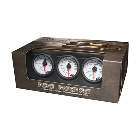 GlowShift White 7 Color Diesel Gauge Set - 60psi Boost, 2400 Pyrometer EGT & Trans Temp