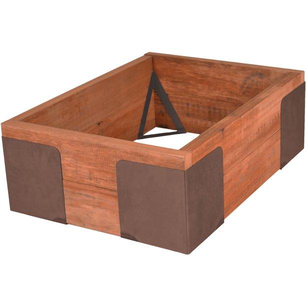 Set Of 4 Brown Steel Raised Garden Bed Corner Brackets 9.5