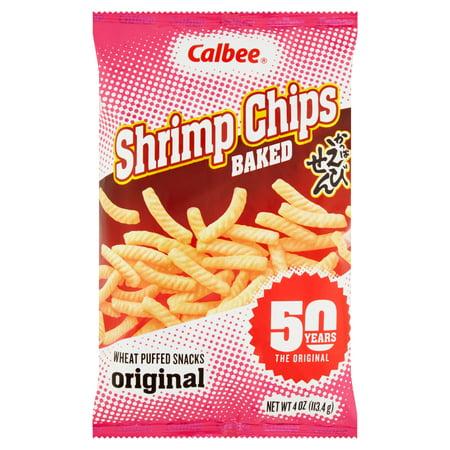 Calbee Baked Shrimp Chips Original Wheat Puffed Snacks, 4 oz, 12 pack