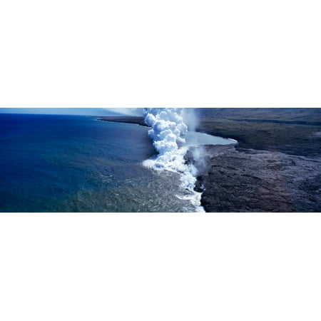 Steam rising off lava flowing into ocean Hawaii Volcanoes National Park Big Islands Hawaii USA Canvas Art - Panoramic Images (6 x - Lava Flow Recipe