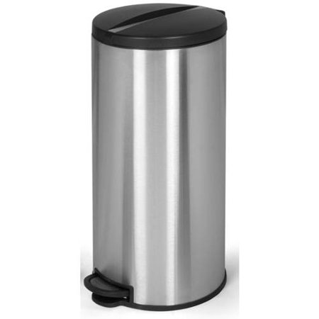 joyware 30 liter gallon round shaped stainless steel step on trash can. Black Bedroom Furniture Sets. Home Design Ideas