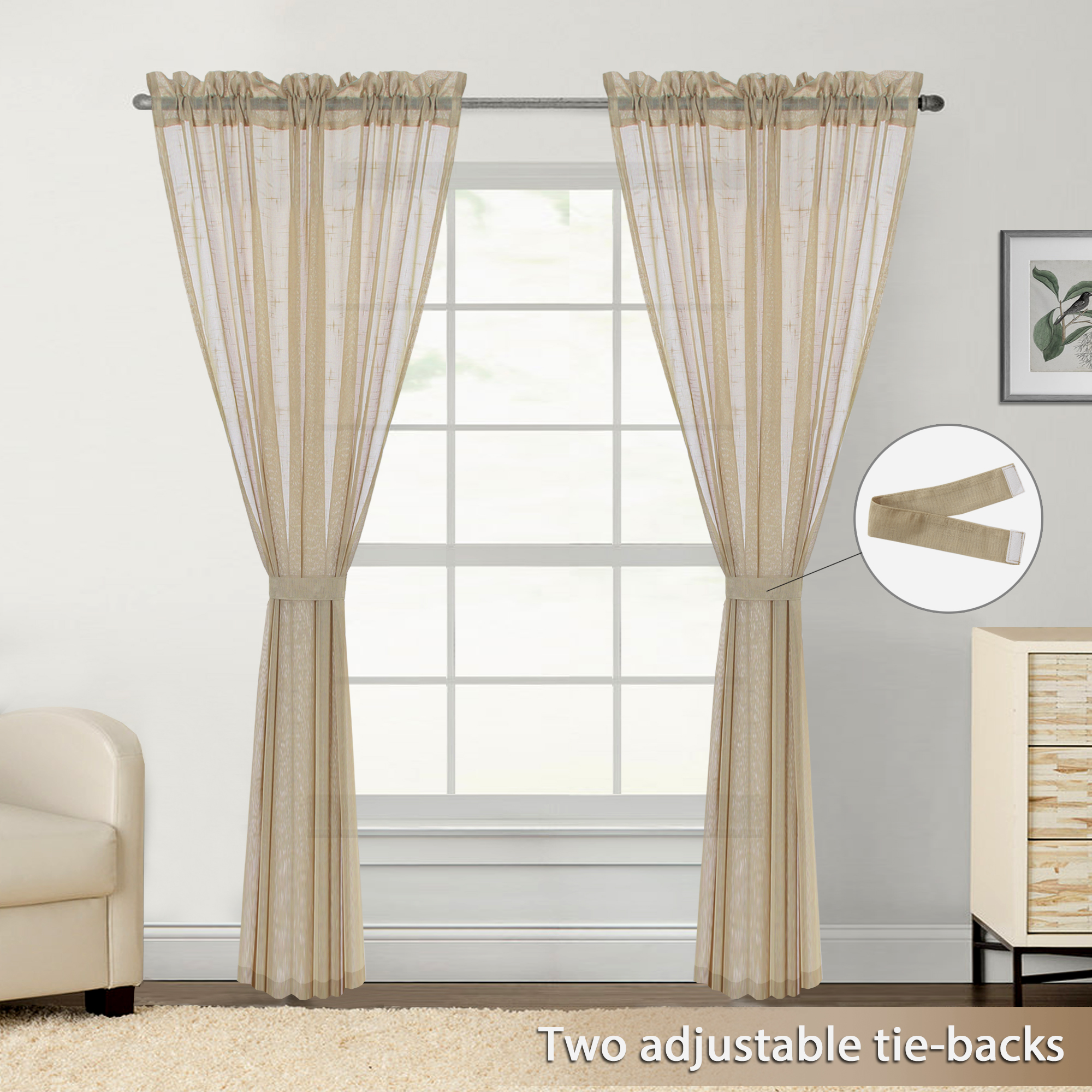 Flamingop Faux Linen Sheer Curtains Drapes For Bedroom Window