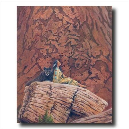 Native Indian Girl Wolf Hidden Wall Picture Art Print