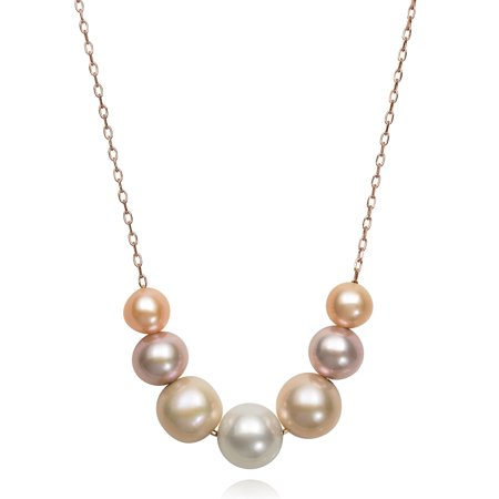 """6-9.5mm Natural Multi-Color Pink Cultured Freshwater Pearl Sterling Silver Chain Necklace, 18"""""""