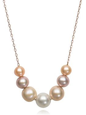 595d60e0e96 Product Image 6-9.5mm Natural Multi-Color Pink Cultured Freshwater Pearl  Sterling Silver Chain Necklace