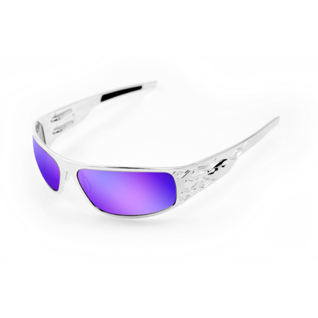 Big Lens Sunglasses - ICICLES Big Daddy Bagger HD Road Lens Lens Sunglasses with Chrome Flames