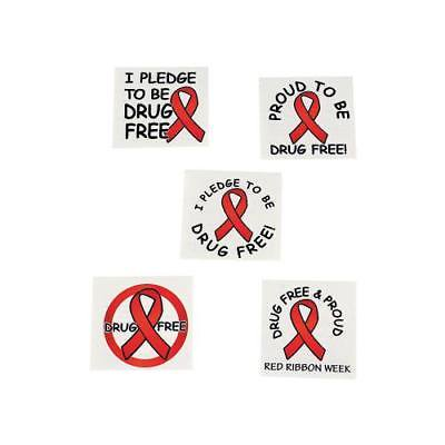 IN-14/438 Red Ribbon Week Tattoos 72 Piece(s) By Fun Express (Ms Ribbon Tattoo)