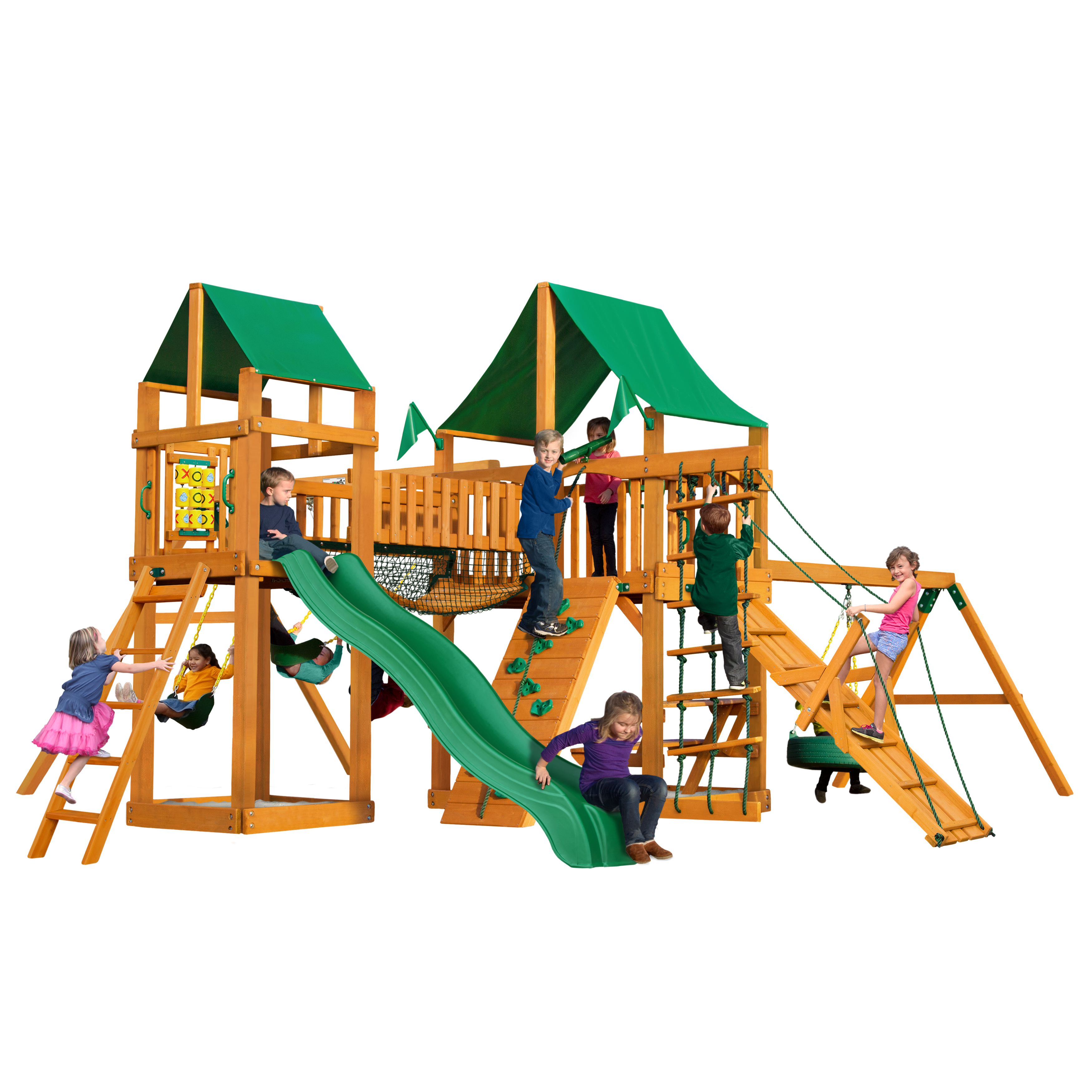 Gorilla Playsets Pioneer Peak Swing Set with Natural Cedar Posts and Deluxe Green Vinyl Canopy