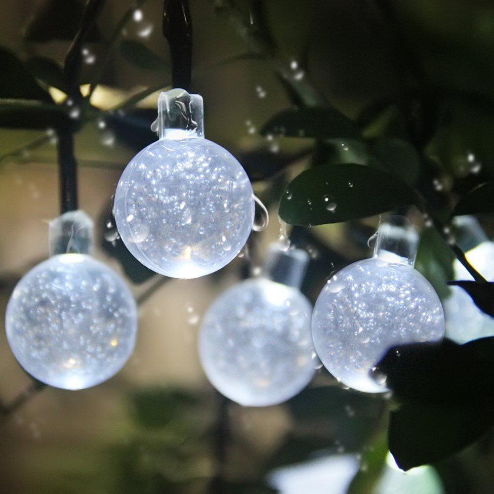 Qedertek globe ball solar string light 20ft 30 led fairy bubble qedertek globe ball solar string light 20ft 30 led fairy bubble crystal lights warm white walmart aloadofball Choice Image