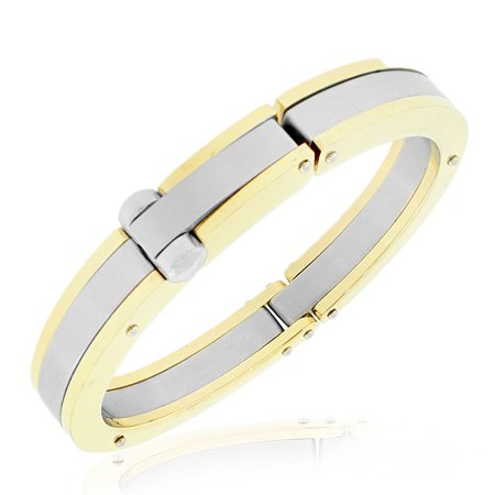 Stainless Steel Two Tone Heavy Large Mens Handcuff Bracelet