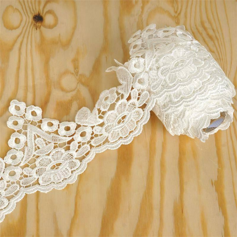 "Efavormart Daffodil Inspired Crocheted Heavy Lace Ribbon Trim 4.3"" x 5yards - White"