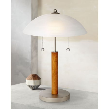 "360 Lighting Modern Accent Table Lamp 19 1/2"" High Cherry Walnut Wood White Frosted Glass Shade for Bedroom Nightstand Office"
