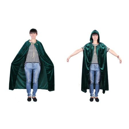 Green Witch Costume (Witch Cosplay Cloak Masquerade Hooded Cape Halloween Party Dress)