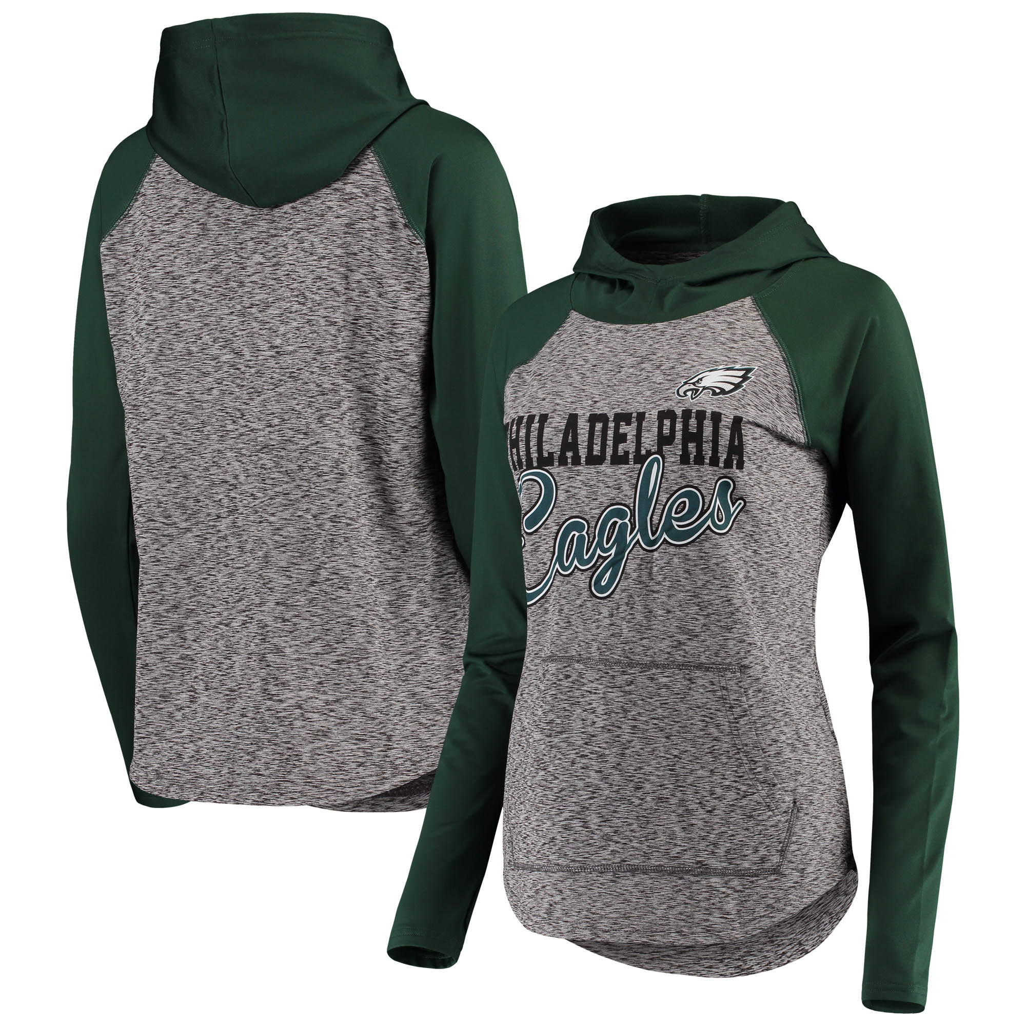 best service 8a4f5 e9c95 Philadelphia Eagles G-III 4Her by Carl Banks Women's Championship Ring  Script Pullover Hoodie - Heathered Black/Green