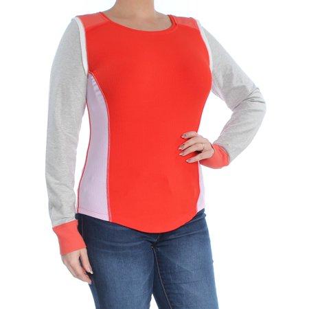 FREE PEOPLE Womens Orange Layered Ribbed Raglan Jewel Neck Top  Size: