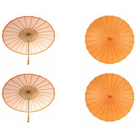 Koyal Wholesale 32-Inch Orange Paper Parasol, 4-Pack Oriental Umbrella for Wedding, Party Favors, Summer  - Wholesale Parasols