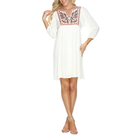 Women's Embroidered Smock Dress - Silk Smocked Dress