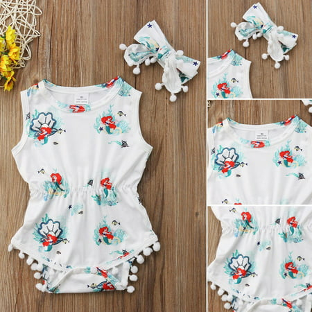 Cotton Newborn Infant Baby Girls Little Mermaid Bodysuit Romper Jumpsuit Headband Outfit Clothes (Mermaid Infant)
