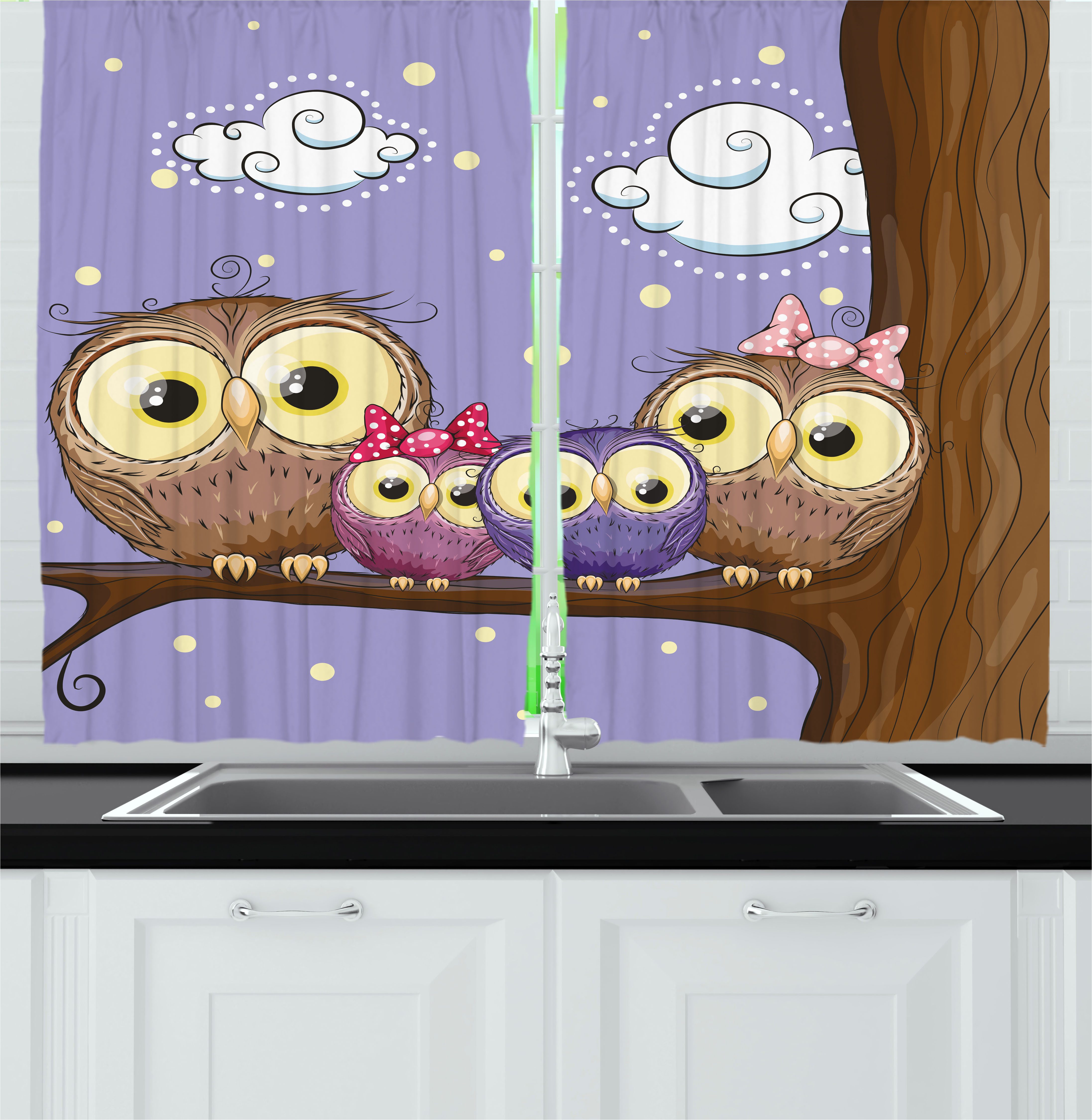 Kids Curtains 2 Panels Set, Cartoon Style Owl Bird Family Mother Father Daughter Son Sitting on a Branch, Window Drapes for Living Room Bedroom, 55W X 39L Inches, Brown and Lavander, by Ambesonne