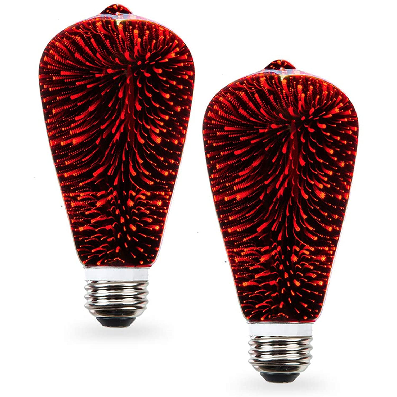 Uses 2 Watts of Energy Average Life 10,000 Hours UL Approved Fairy Like Fireworks ST19 SleekLighting 2 watt LED Light Bulb 110 Volts Instant On General Purpose Multi Color LED Light Bulb