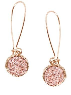 468d8b21c Product Image Simulated Druzy Threaders - Upside-Down Long Hoop Dangle Drop  Earrings for Women, by