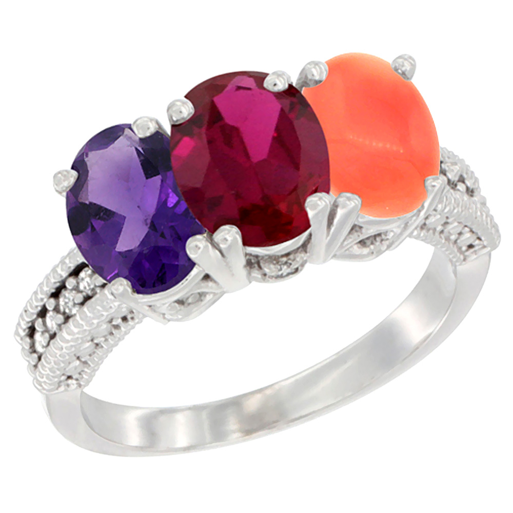 10K White Gold Natural Amethyst, Enhanced Ruby & Natural Coral Ring 3-Stone Oval 7x5 mm Diamond Accent, sizes 5 10 by WorldJewels