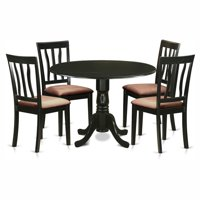 East West Furniture Dublin 5 Piece Drop Leaf Dining Table Set with Microfiber Antique Chairs