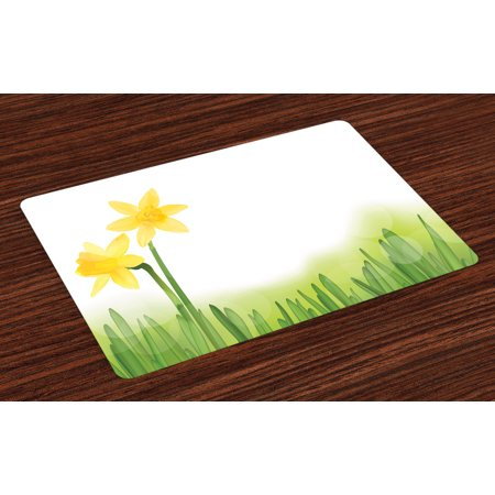 Daffodil Placemats Set of 4 Daffodil Flower in Grass Field Meadows Freshening Uniform Colored Illustration, Washable Fabric Place Mats for Dining Room Kitchen Table Decor,Green Yellow, by Ambesonne ()