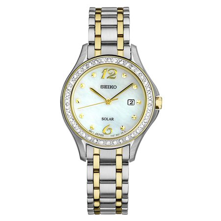 Seiko Alba Women Watches (Seiko SUT312 Women's Core Solar Swarovski Crystals MOP Dial Two Tone Steel Power Reserve)