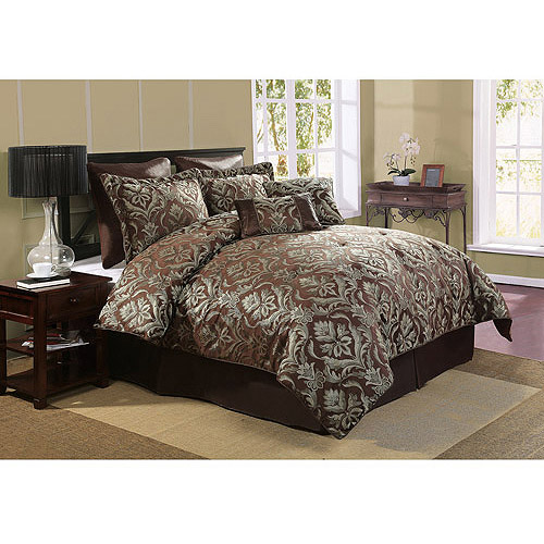 Victoria Classics Bellagio 8-Piece Bedding Comforter Set, Green/Chocolate