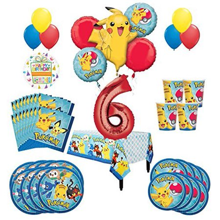 Pokemon Party (Pokemon 6th Birthday Party Supplies and 16 Guest 95pc Balloon Decoration)