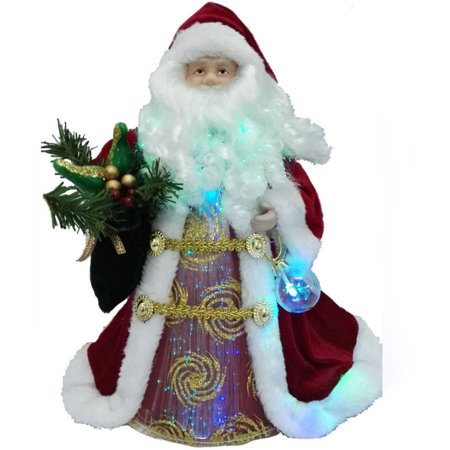 holiday time christmas ornaments 12 redgold santa tree topper with led light - Red And Gold Christmas Decorations