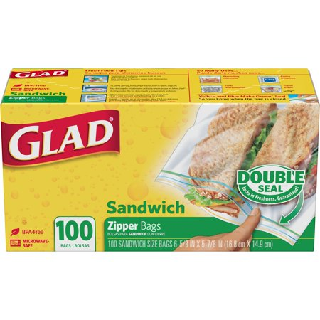 2 Pack Glad Zipper Food Storage Sandwich Bags 100 Ct
