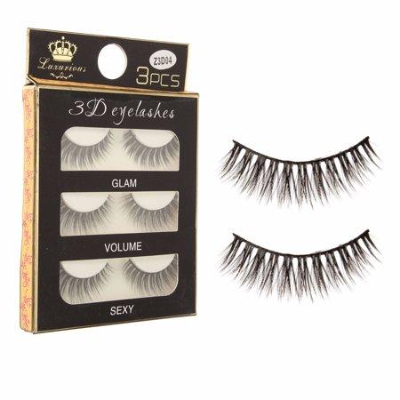 3 Pairs 100% Black Real Mink Natural Cross Long Thick Eye Lashes False Eyelashes