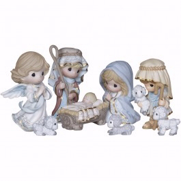 Precious Moments Come Let Us Adore Him Porcelain 8-Piece Nativity Set by Precious Moments