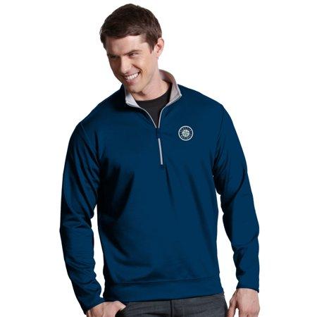 Seattle Mariners Antiqua MLB Leader 1 4 Zip Performance Sweatshirt Navy by