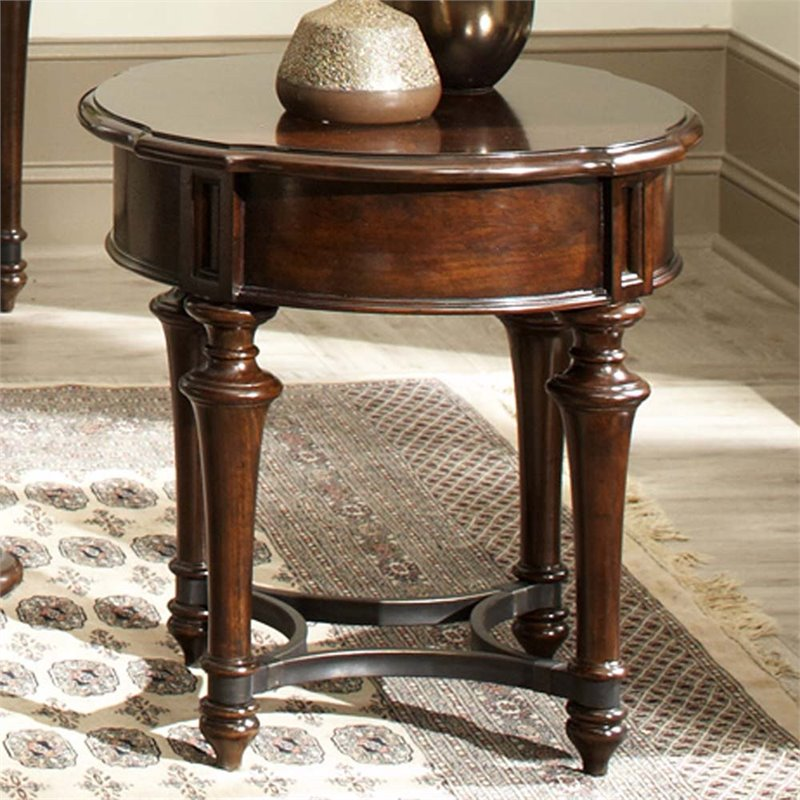 Liberty Furniture Kingston Round End Table in Cognac