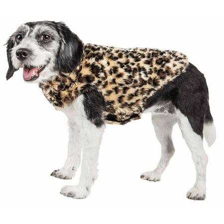 Pet Life ® Luxe 'Poocheetah' Ravishing Designer Spotted Cheetah Patterned Mink Fur Dog Coat Jacket (Designer Dog Raincoat)