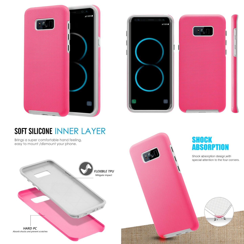 MUNDAZE Hot Pink EZPRESS Double Layered Case For Samsung Galaxy S8 Phone